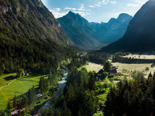 Beautiful river valley in Slovenia Alps