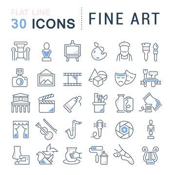 Set Vector Line Icons of Fine Art.