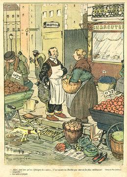 Cartoon, French Street Market, Ww1