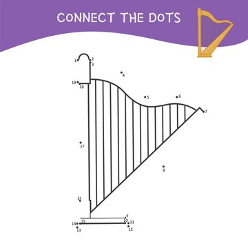 Educational game for kids. Dot to dot game for children. Cartoon harp.