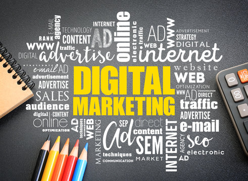 Digital Marketing word cloud on the desk, business concept background