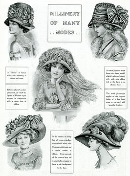 Edwardian Bows, Floral and Feathered Hats 1909