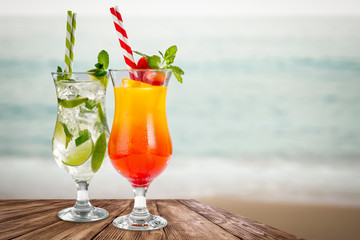 summer drink on desk and free space for your decoration