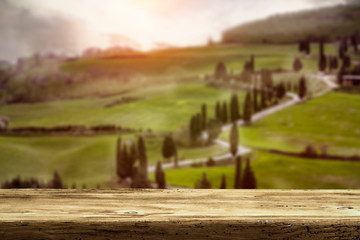 Fototapete - Desk of free space and italy landscape