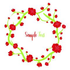 Elegant design illustration of floral template with text frame