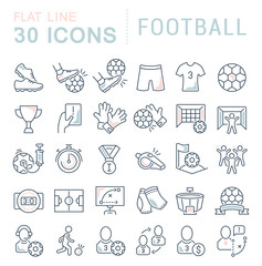 Set Vector Line Icons of Football.