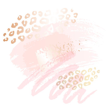 Golden leopard skin pink art frames. Modern card design, brush stroke, gold, premium invitation template. Pastel rose colors brush strokes, pink gold contour square frame. Abstract background.
