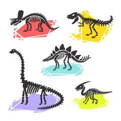 Vector dinosaur skeleton set diplodocus, triceratops, t-rex, stegosaurus, parasaurolophus. Color crystal illustration. For  logo, card, T-shirts, textiles, web. Isolated on white background.