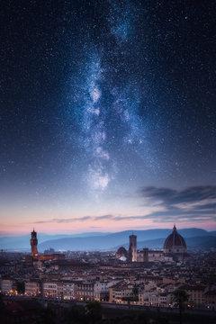 Florence city skyline under milky way