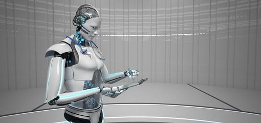 Fototapete - Humanoid Robot Medical Assistant