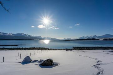 Strand in Norwegen im Winter, Tromsö