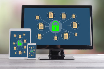 Data protection concept on different devices