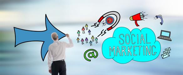 Social marketing concept drawn by a man