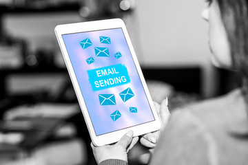 Email sending concept on a tablet