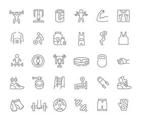Set Vector Line Icons of Heavy Athletics.