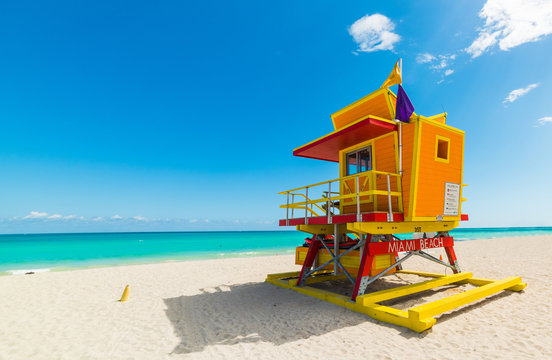 Colorful lifeguard tower under a clear sky in Miami Beach