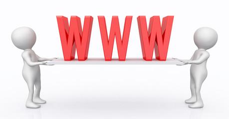3D Figuren mit World Wide Web Symbol auf einem Brett