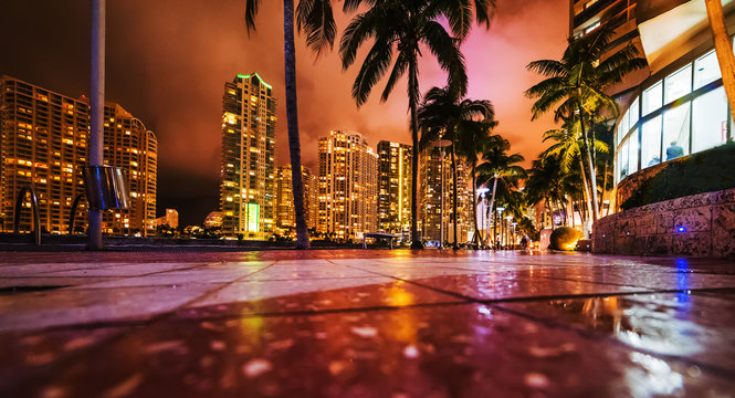 Skyscrapers in downtown Miami seen from the river walk at night