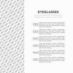 Eyeglasses concept with thin line icons: sunglasses, sport glasses, rectangular, aviator, wayfarer, round, square, cat eye, oval, extravagant, big size. Modern vector illustrationfor print media.