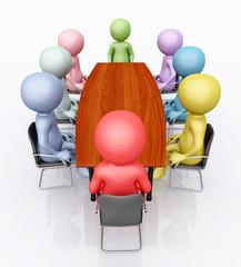Konferenztisch und 3D Figuren