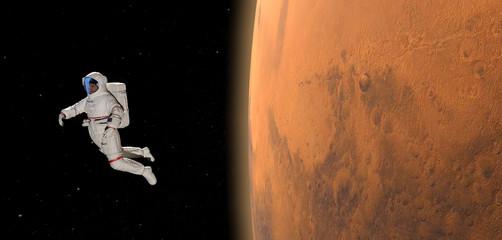 Astronaut und Planet Mars