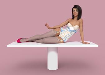 Attraktive Frau posiert liegend auf einem Tisch