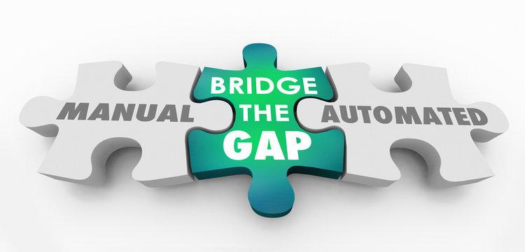 Manual Automated Bridge the Gap Puzzle Pieces 3d Illustration