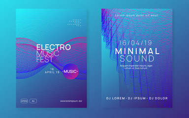 Sound flyer. Creative discotheque banner set. Dynamic gradient shape and line. Neon sound flyer. Electro dance music. Electronic fest event. Club dj poster. Techno trance party.