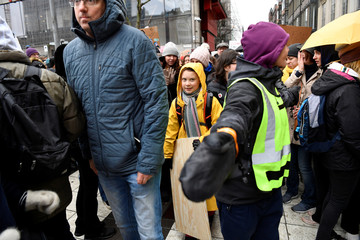 """Swedish environmental activist Greta Thunberg participates in the """"Global Strike For Future"""" demonstration in central Stockholm"""
