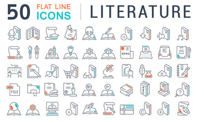 Set Vector Line Icons of Literature.