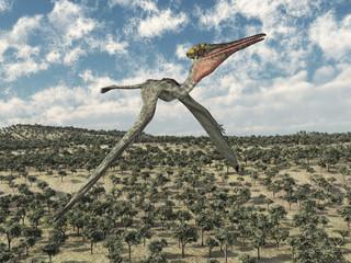 Flugsaurier Pterodactylus über einer Landschaft
