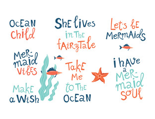 Mermaid party hand drawn blue lettering set. Positive quote cliparts