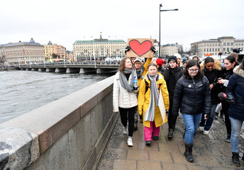 """Swedish environmental activist Greta Thunberg and her sister Beata Thunberg participate in the """"Global Strike For Future"""" demonstration in central Stockholm"""