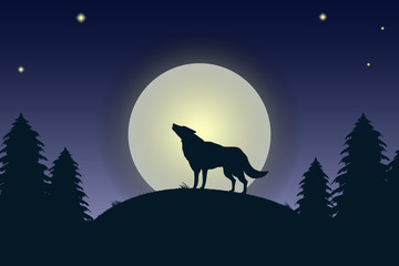 Illustration of the night landscape with the howling wolf.