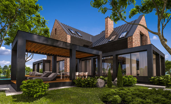 3d rendering of modern cozy clinker house on the ponds with garage and pool for sale or rent with beautiful landscaping on background. Clear sunny summer day with blue sky.