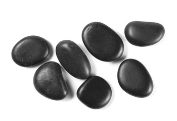 Black rocks, pile isolated on white background, top view