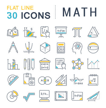 Set Vector Line Icons of Math.