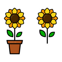 cartoon cute sunflower in a pot vector set