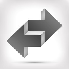 Double arrow. Unreal object. Pointer in two directions. Vector design element for you project