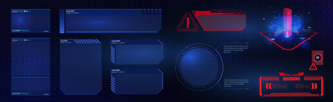 HUD UI GUI  futuristic user interface screen elements set. High tech screen for video game. Sci-fi concept design. Vector illustration