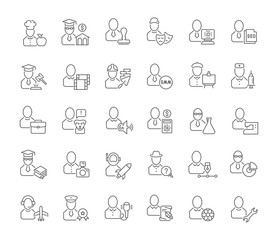 Set Vector Line Icons of Professions.