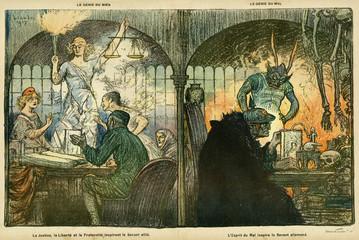 Cartoon, Good and Evil Spirits, Ww1