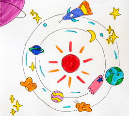 children's drawing is painted with colored pens of aliens, stars, planets and constellations