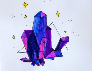 children's drawing is painted with a pencil, amethyst crystal, purple