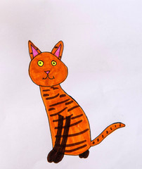 The red cat is painted with a pen and a marker. Greeting card with cartoon character