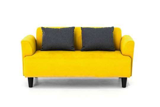 Yellow Scandinavian style contemporary sofa on white background with modern and minimal furniture design for stylish living room.