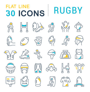 Set Vector Line Icons of Rugby.