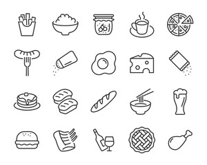 set of food icons, such as restaurant, bread, drinks, fastfood