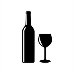 Wine bottle glass icon. Vector illustration. Isolated.