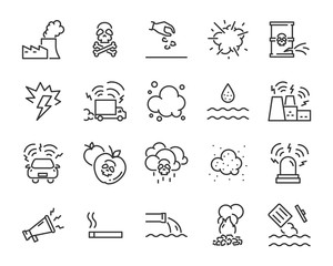 set of pollution icons, such as, pollution, dirty, bin, plastic, industry waste , waste, sound pollution